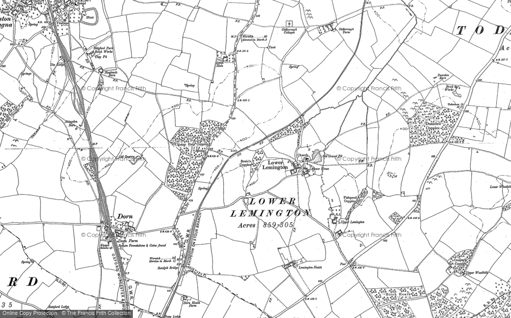 Old Map of Historic Map covering Lemington Manor in 1900