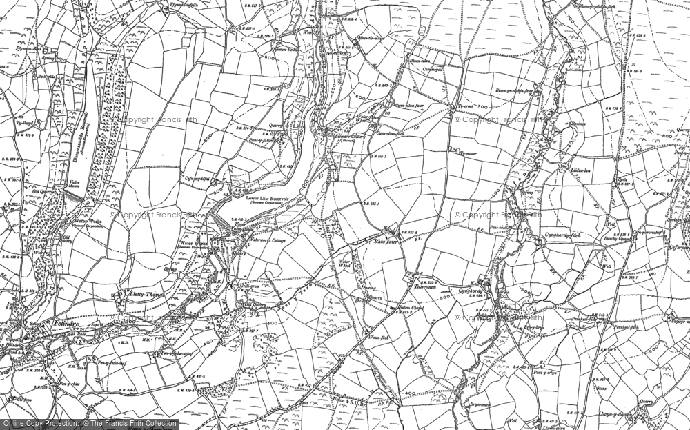 Old Map of Historic Map covering Banc Maestir-mawr in 1897