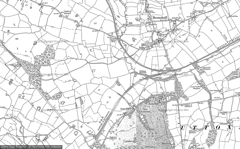 Old Map of Historic Map covering Leese Hill in 1881