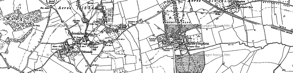 Old map of Brympton D'Evercy in 1886