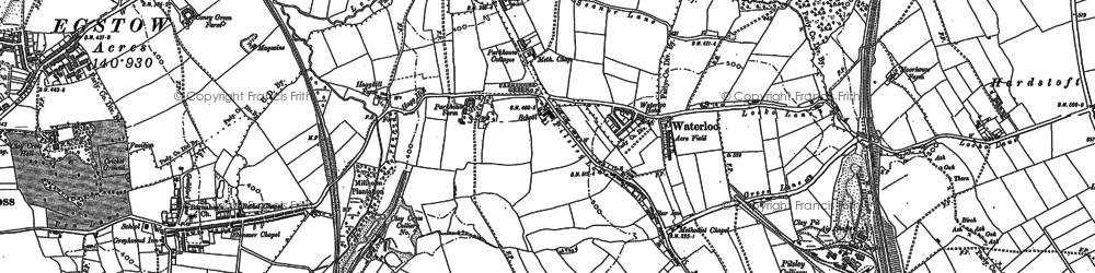 Old map of Lower Pilsley in 1877