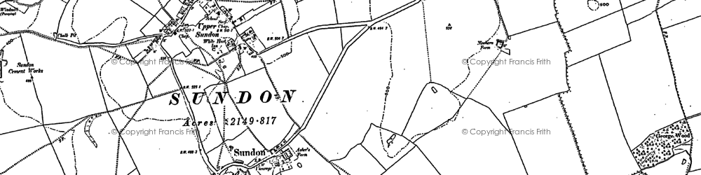 Old map of Lower Sundon in 1881