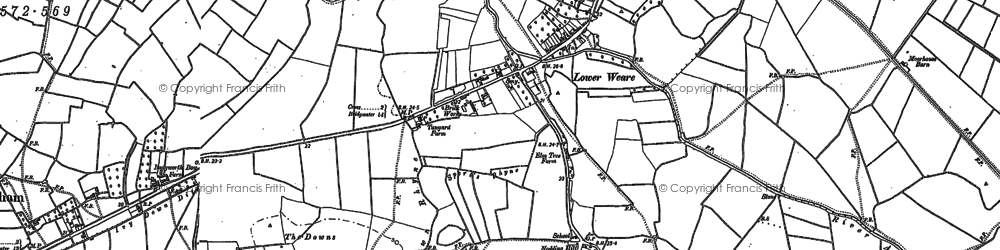 Old map of Badgworth Court in 1884