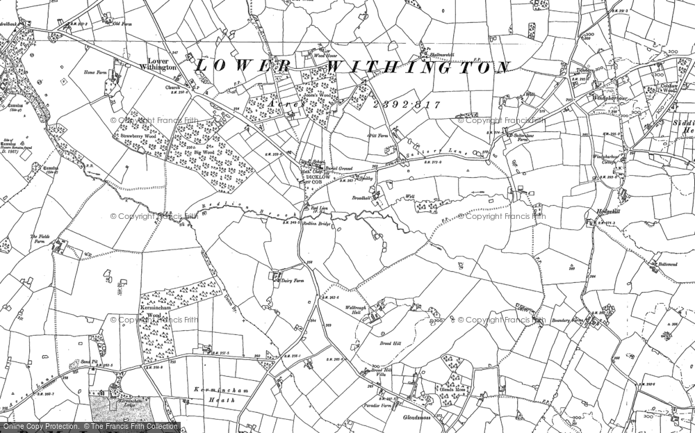 Old Map of Historic Map covering Woodhouse Cottage in 1897