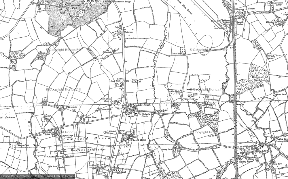 Old Map of Historic Map covering Langley Green in 1912