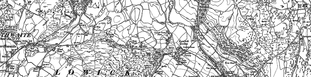 Old map of Lowick Green in 1911