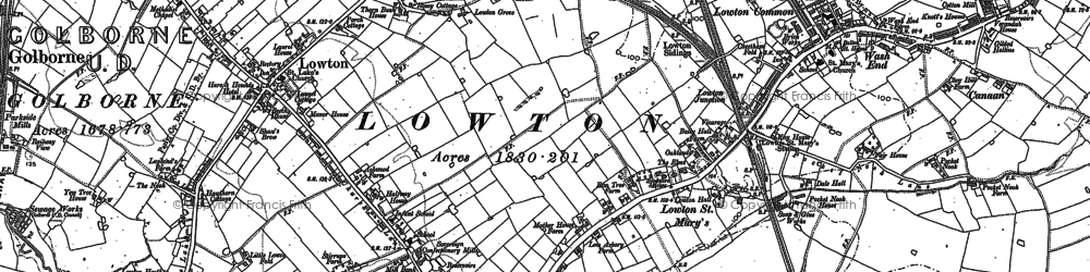 Old map of Lane Head in 1892