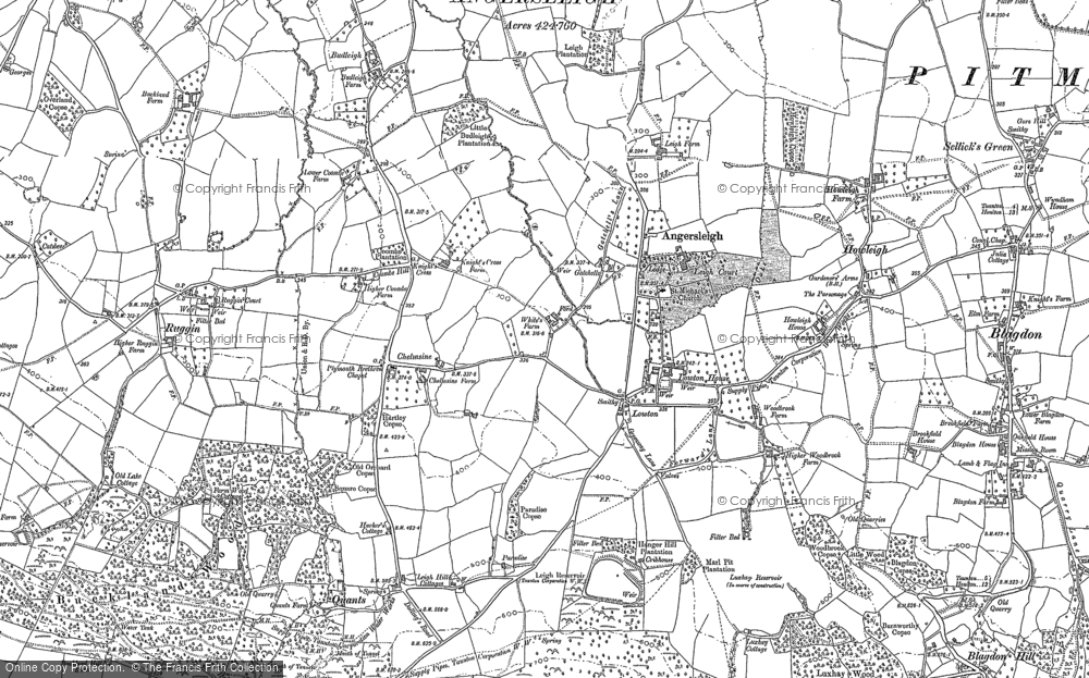 Old Map of Historic Map covering Leigh Resr in 1903