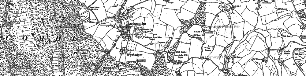 Old map of Luccombe in 1902