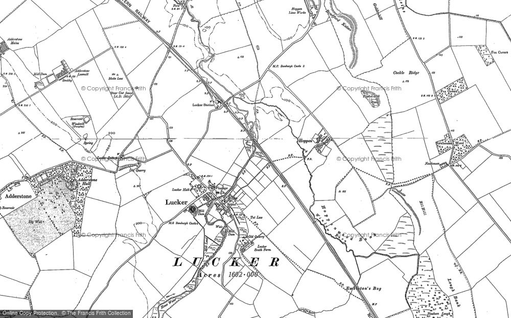 Old Map of Historic Map covering Adderstone Grange in 1897