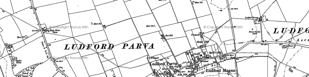Old map of Ludford in 1886