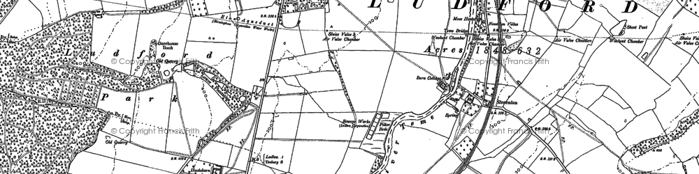 Old map of Ludford in 1902