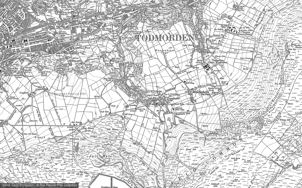 Old Map of Historic Map covering Langfield Common in 1905