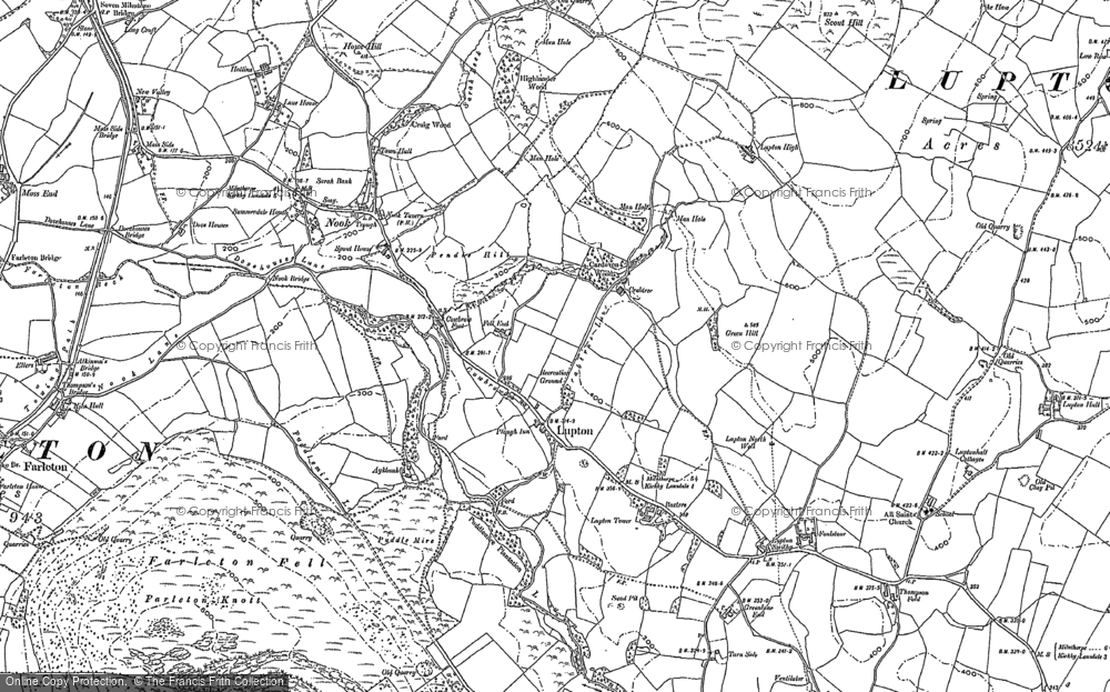 Old Map of Historic Map covering Aikrigg Green in 1896
