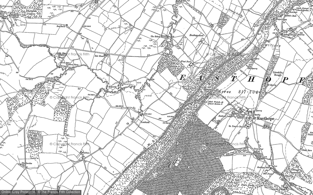 Old Map of Historic Map covering Lutwyche Hall in 1882