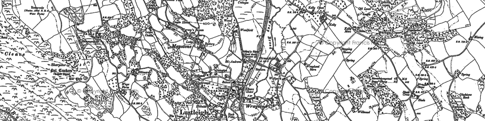 Old map of Lustleigh in 1885