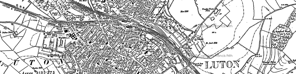 Old map of Luton in 1879