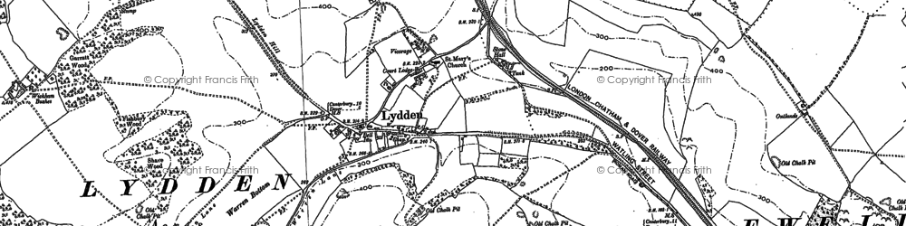 Old map of Wickham Bushes in 1896