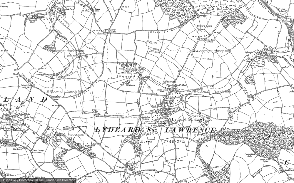 Old Map of Historic Map covering Tolland Down in 1887