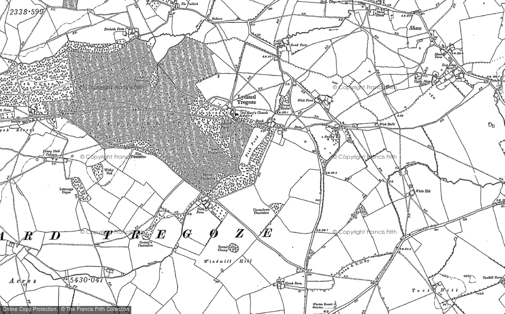 Old Map of Historic Map covering Letterage Copse in 1899