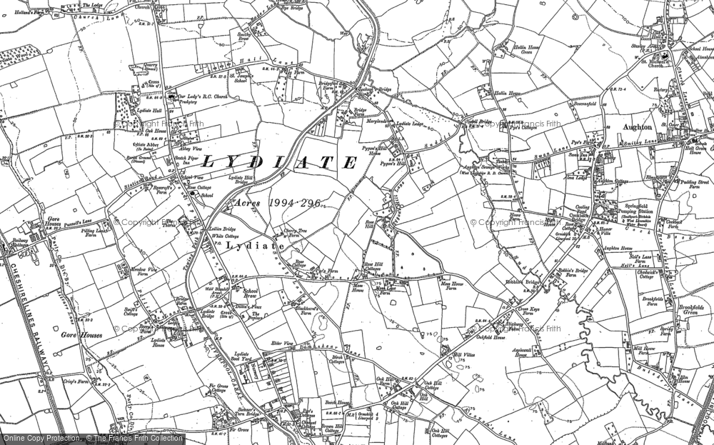 Old Map of Historic Map covering Aughton Chase in 1892