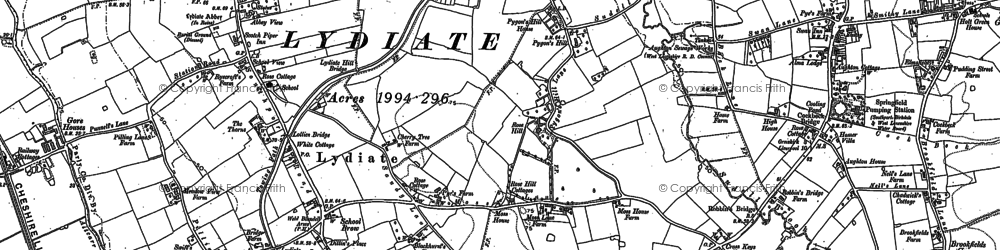 Old map of Lydiate in 1892