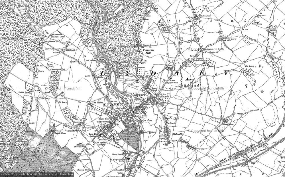 Old Map of Historic Map covering Allaston in 1879