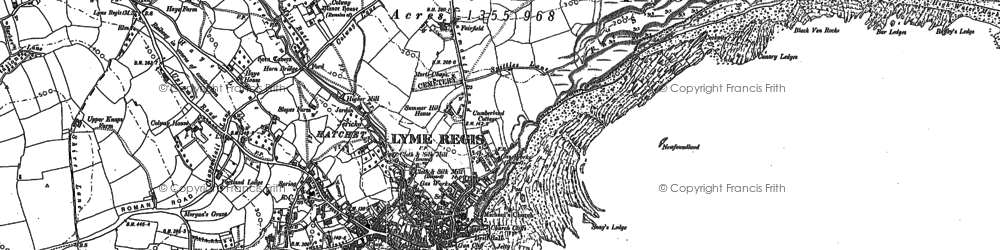Old map of Lyme Regis in 1901