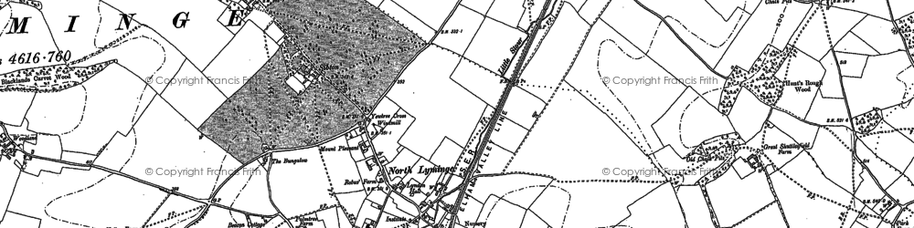 Old map of Lyminge in 1896