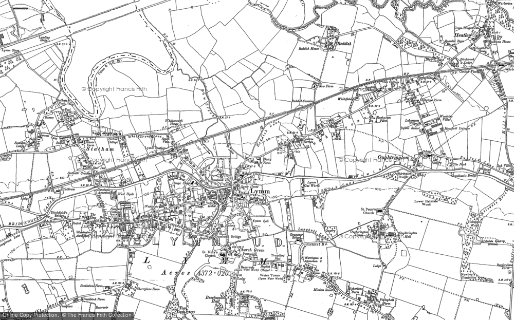 Old Map of Historic Map covering Statham in 1908