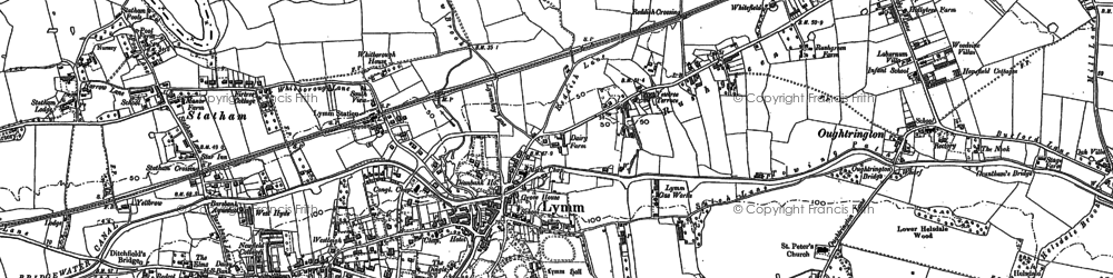 Old map of Statham in 1908