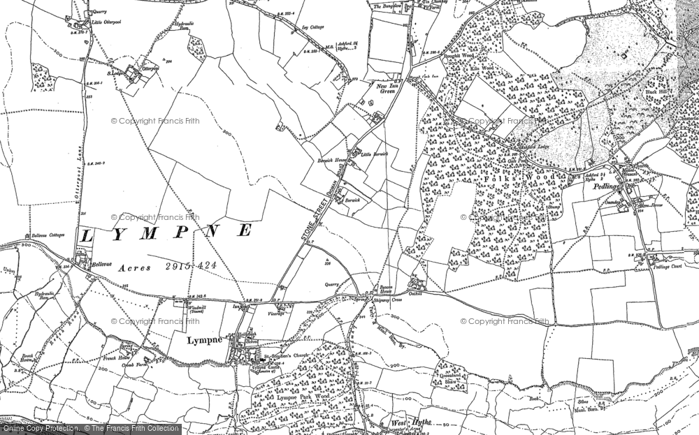 Old Map of Lympne, 1906 in 1906