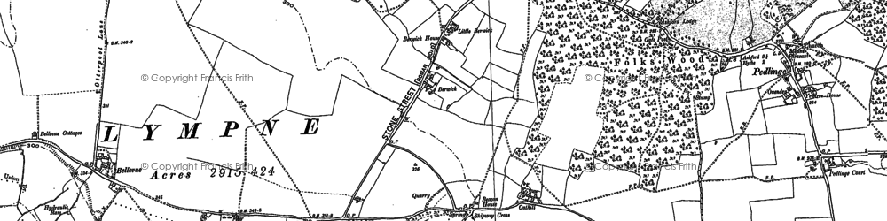 Old map of Lympne in 1906