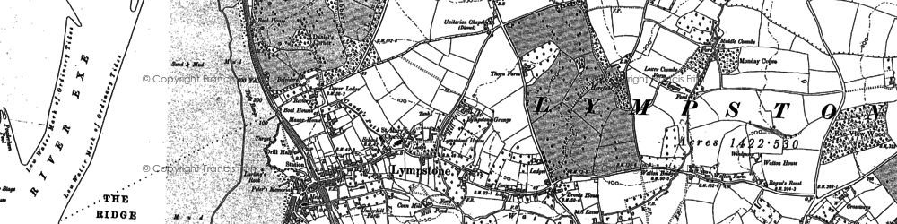 Old map of Lympstone in 1888