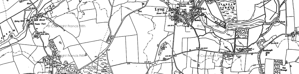 Old map of Lyng in 1882
