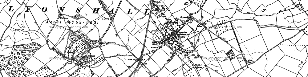 Old map of Lyonshall in 1885
