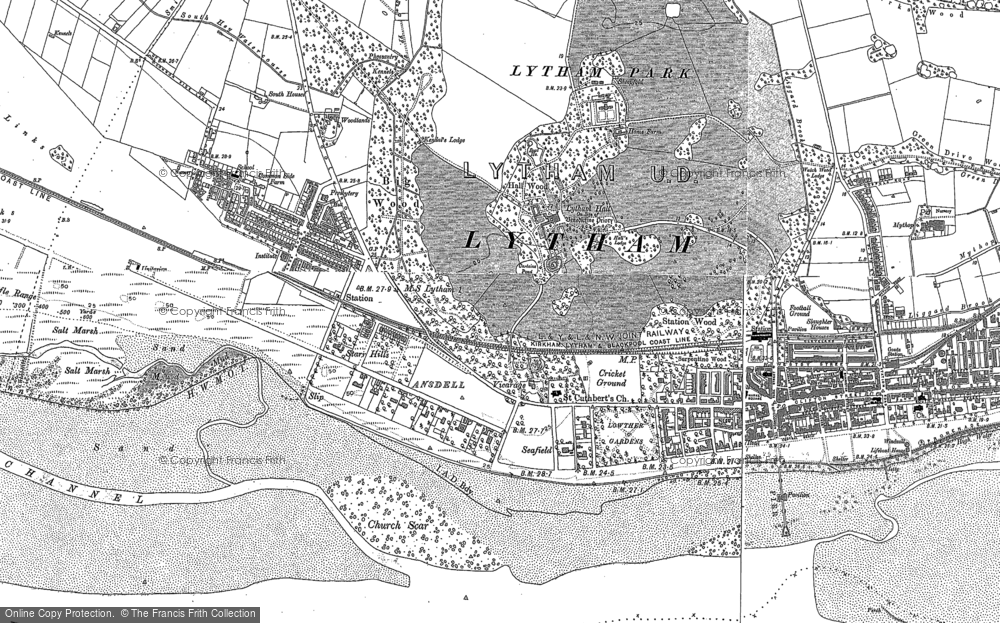 Old Map of Historic Map covering Banks Sands in 1891