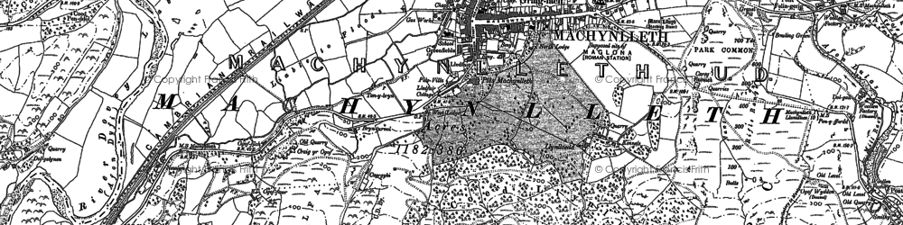 Old map of Machynlleth in 1887