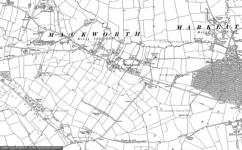 Old Map of Mackworth, 1881 - 1882 in 1881