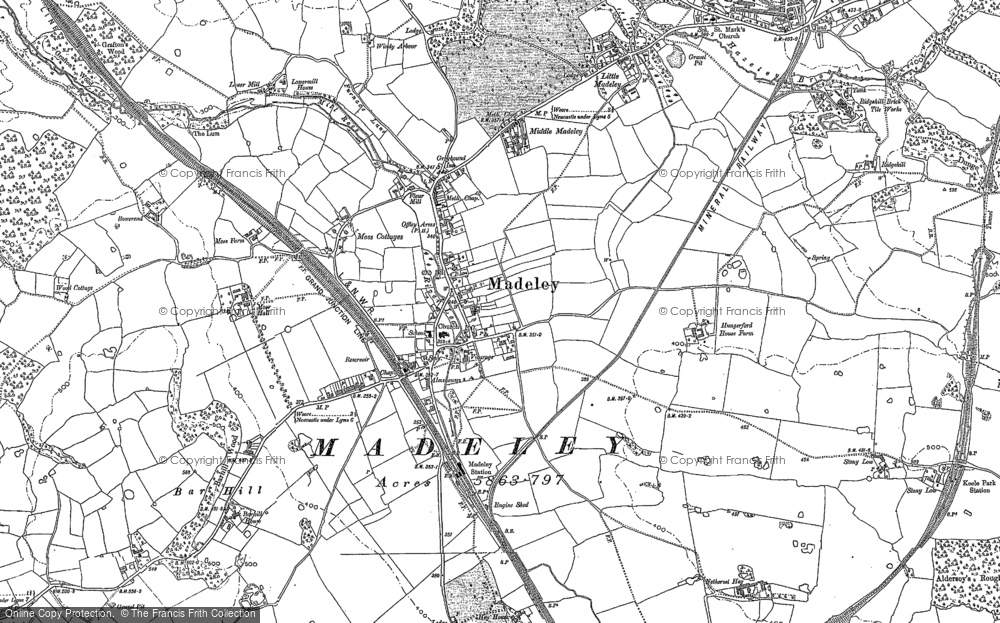 Old Map of Historic Map covering Bar Hill in 1878