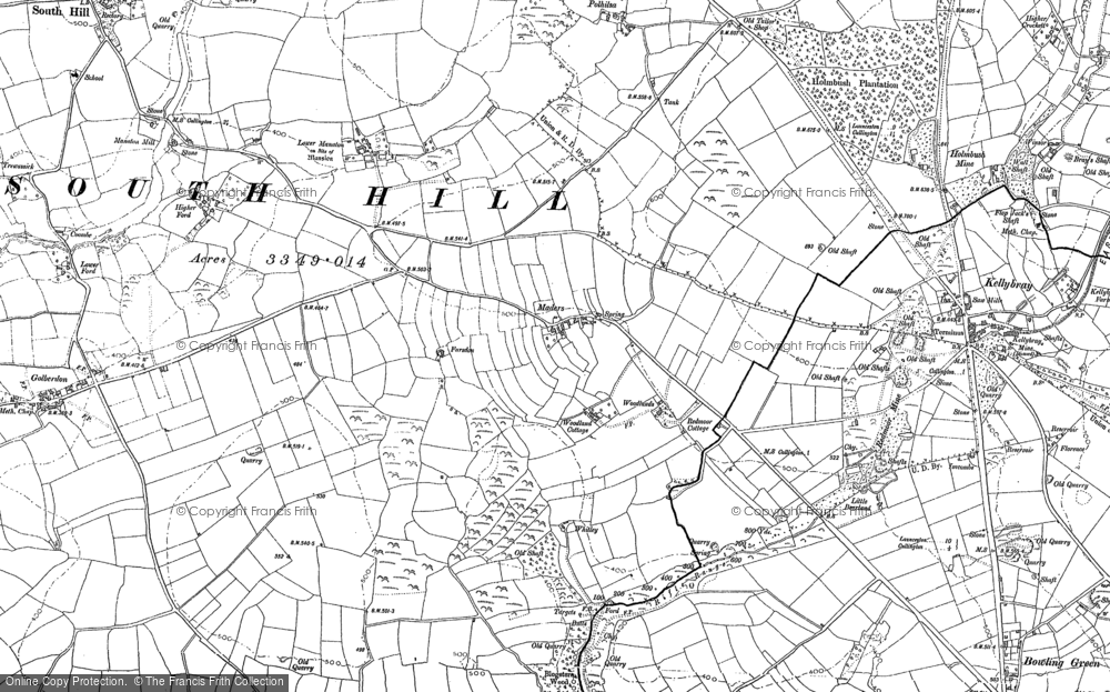 Old Map of Historic Map covering Woodland in 1905