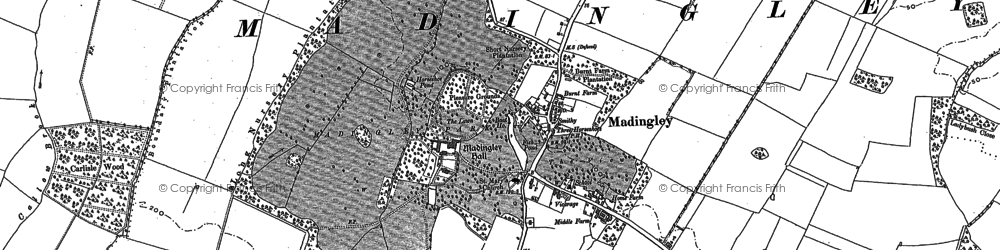 Old map of Madingley in 1886