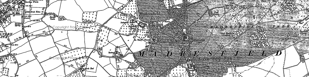 Old map of Madresfield in 1884