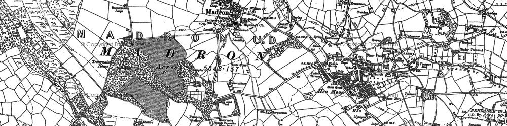 Old map of Madron in 1877