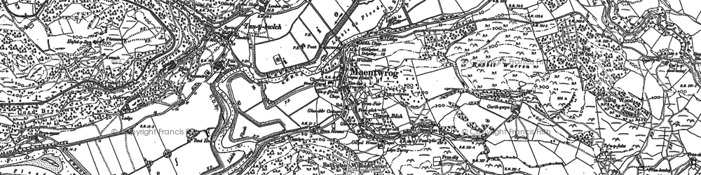 Old map of Maentwrog in 1887