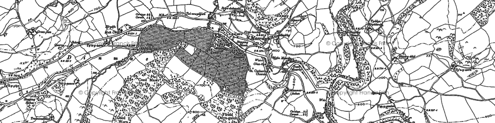 Old map of Rhôs-cae'r-ceiliog in 1886
