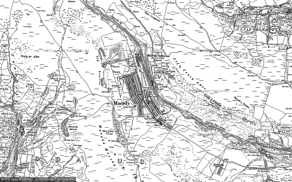 Old Map of Historic Map covering Afon Rhondda Fach in 1897