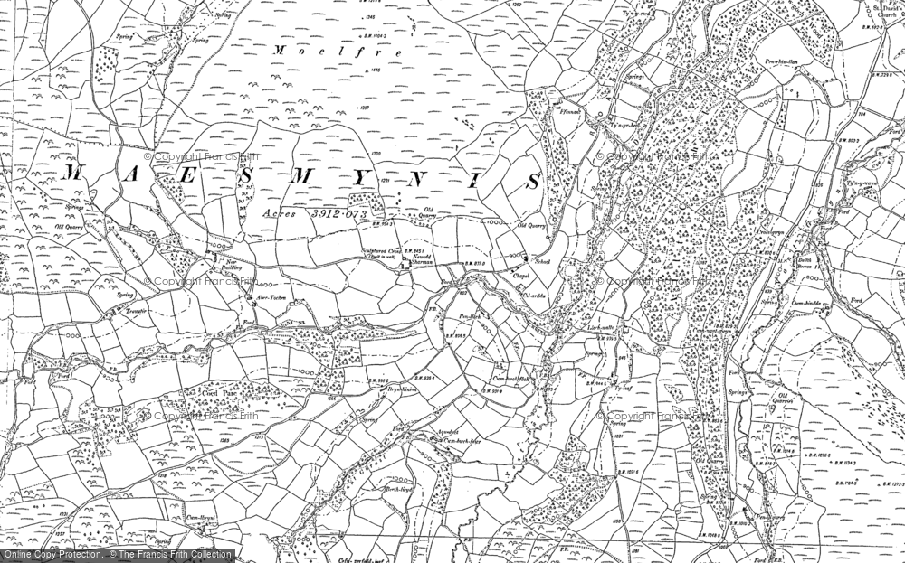 Old Map of Historic Map covering Allt Cynhelyg in 1903