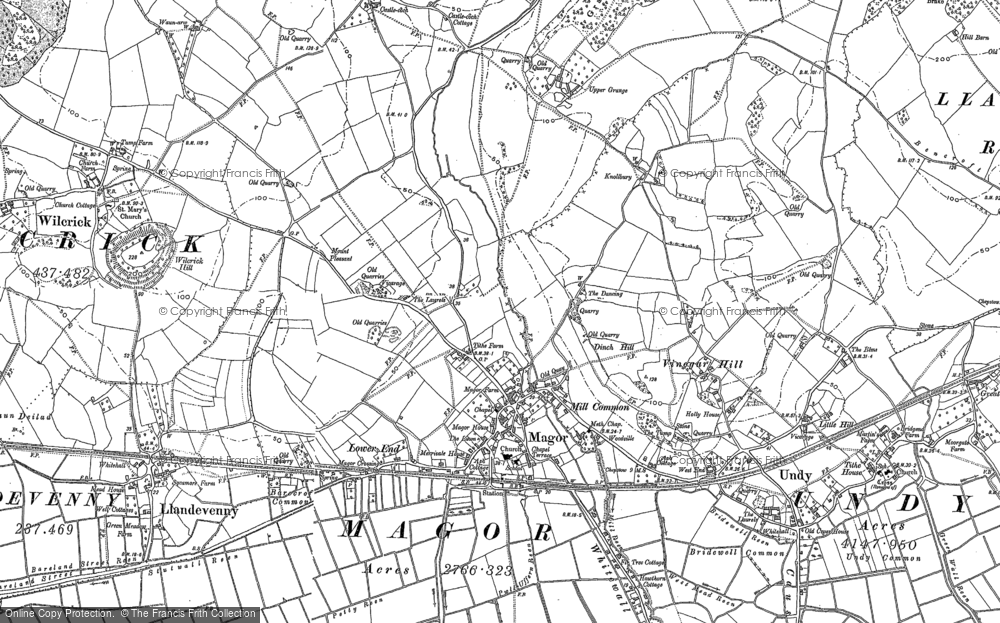 Old Map of Historic Map covering Whitewall Common in 1900