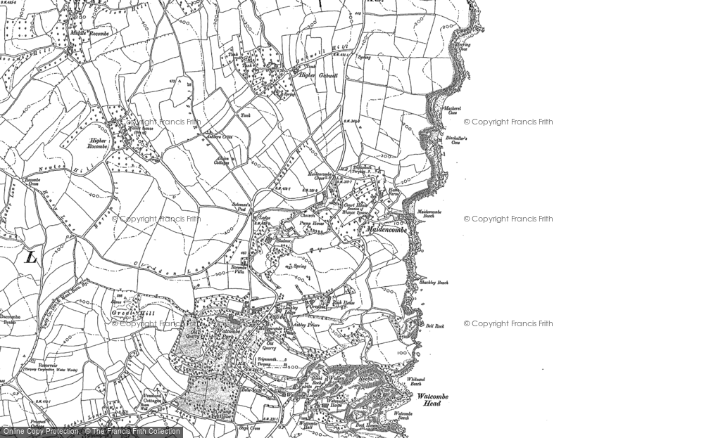 Old Map of Historic Map covering Babbacombe Bay in 1904